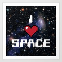 I Heart Space Retro Galaxy Art Print