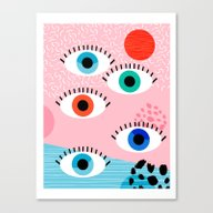 Noob - Eyes Memphis Retr… Canvas Print