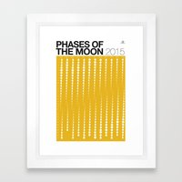 YELLOW Phases of the Moon Calendar Framed Art Print
