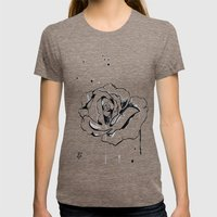 White Rose Womens Fitted Tee Tri-Coffee SMALL
