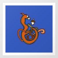 Medieval Blue Squirrel letter B Art Print