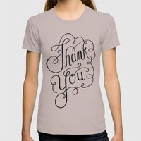 Thank you Hand Lettered Calligraphy Womens Fitted Tee Cinder SMALL