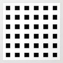 Cross Squares Black & White Art Print