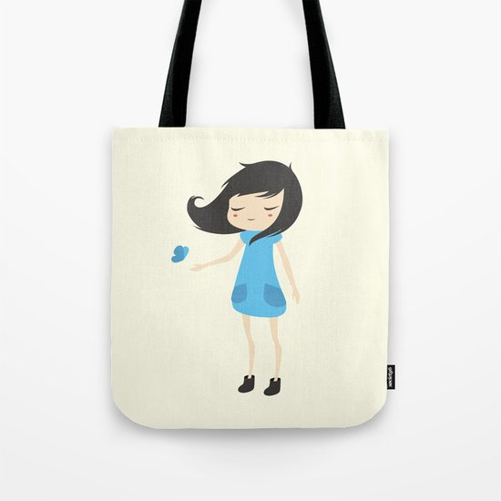 Girl and a Butterfly 2 Tote Bag