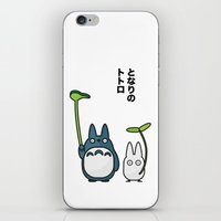 Chu & Chibi Totoro Pop art - White Version iPhone & iPod Skin