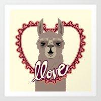 Llama Llove Art Print