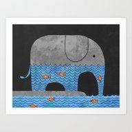 Thirsty Elephant  Art Print