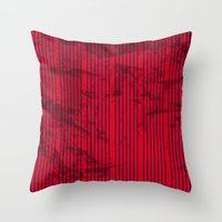 Grunge Blue stripes on bold red background illustration. Throw Pillow