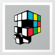 Art Print featuring Rubix Skull by MEKAZOO
