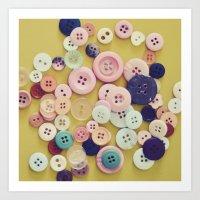 Vintage Buttons  Art Print