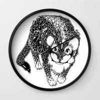 Black Cheetah Wall Clock