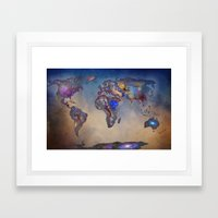 Stars World Map. Blue Framed Art Print