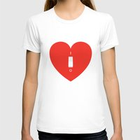 Switch Off My Heart Before You Leave Womens Fitted Tee White SMALL