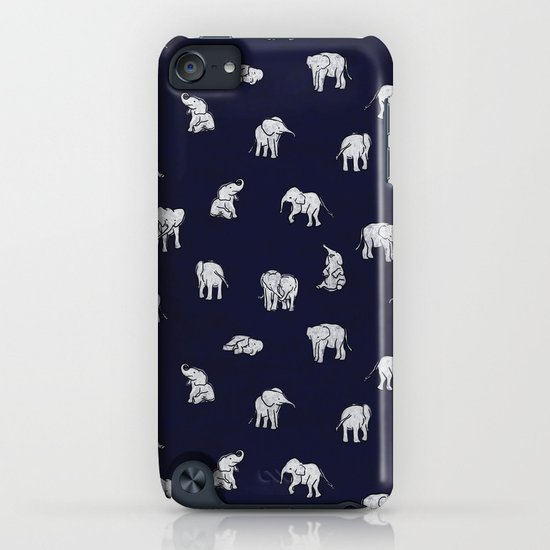 Indian Baby Elephants in Navy iPhone & iPod Case