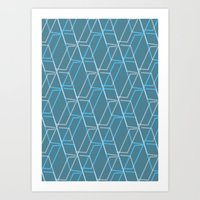GRID-BLUE Art Print