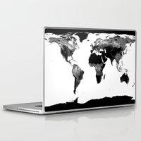 world map Laptop & iPad Skins featuring World Map  Black & White by WhimsyRomance&Fun