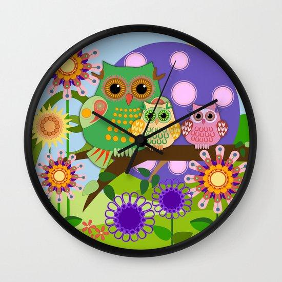 Owls, Flowers Fantasy design Wall Clock