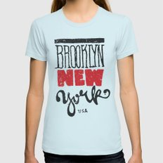 Brooklyn New York Womens Fitted Tee Light Blue SMALL