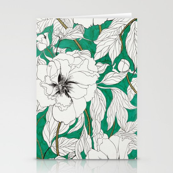 green peonies Stationery Card