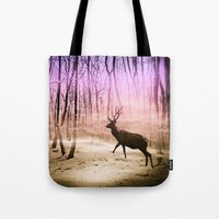 Deer In A Foggy Forest Tote Bag