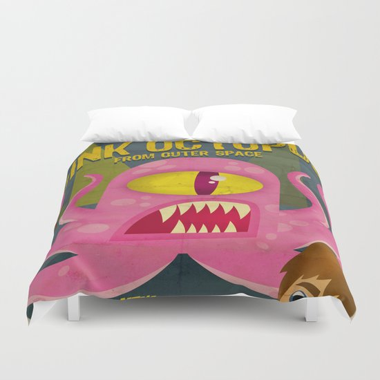 Pink octopus from outer space Duvet Cover