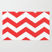 Red Chevron Lines Rug