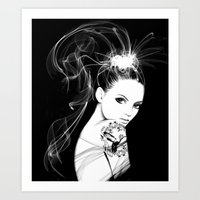 Smoke Girl Art Print