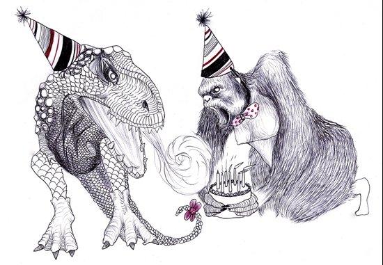King Kong Loves T-rex Art Print