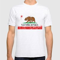 California Flag Mens Fitted Tee Ash Grey SMALL