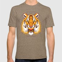 Geometric Tiger Mens Fitted Tee Tri-Coffee SMALL
