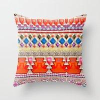 Watercolour Red Aztec Throw Pillow