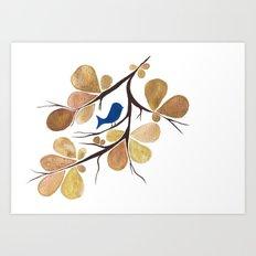 Bird perched on a tree Art Print