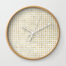 gOld squares Wall Clock