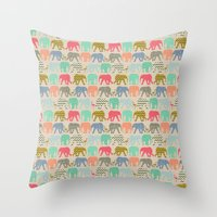 baby elephants and flamingos linen Throw Pillow