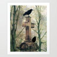 Two Graveyard Crows Art Print