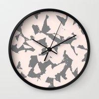 Pastel Pink Bird Wings on Grey Wall Clock
