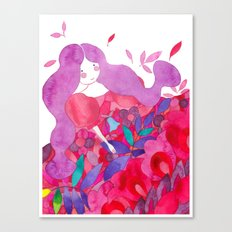 Princess of the flowers in pink ornament Canvas Print