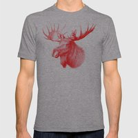 Moose Red Mens Fitted Tee Athletic Grey SMALL
