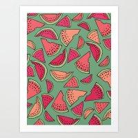 Watermelon Party Art Print