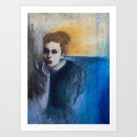 Woman in Smoke Art Print