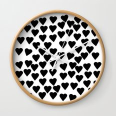 Hearts Black and White Wall Clock