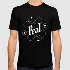 real Black SMALL Mens Fitted Tee