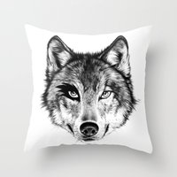 The Wolf Next Door Throw Pillow