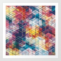 Cuben Curved #5 Geometric Art Print. Art Print