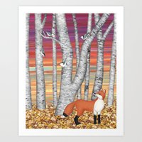 nuthatches and fox in the birch forest Art Print