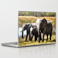 elephants Laptop & iPad Skins featuring Elephants by Regan's World