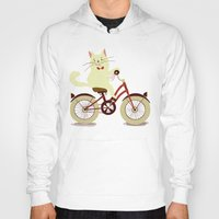 White cat on a bicycle Hoody