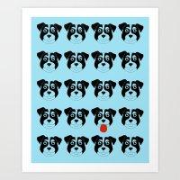 Dogs Blue Art Print