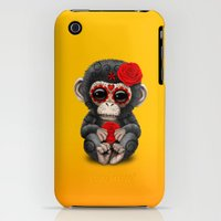 iPhone Cases featuring Red and Yellow Day of the Dead Sugar Skull Baby Chimp by Jeff Bartels