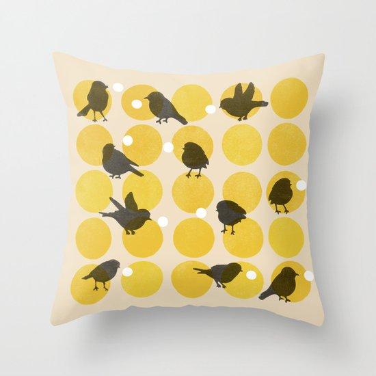 Birdsong Yellow Throw Pillow